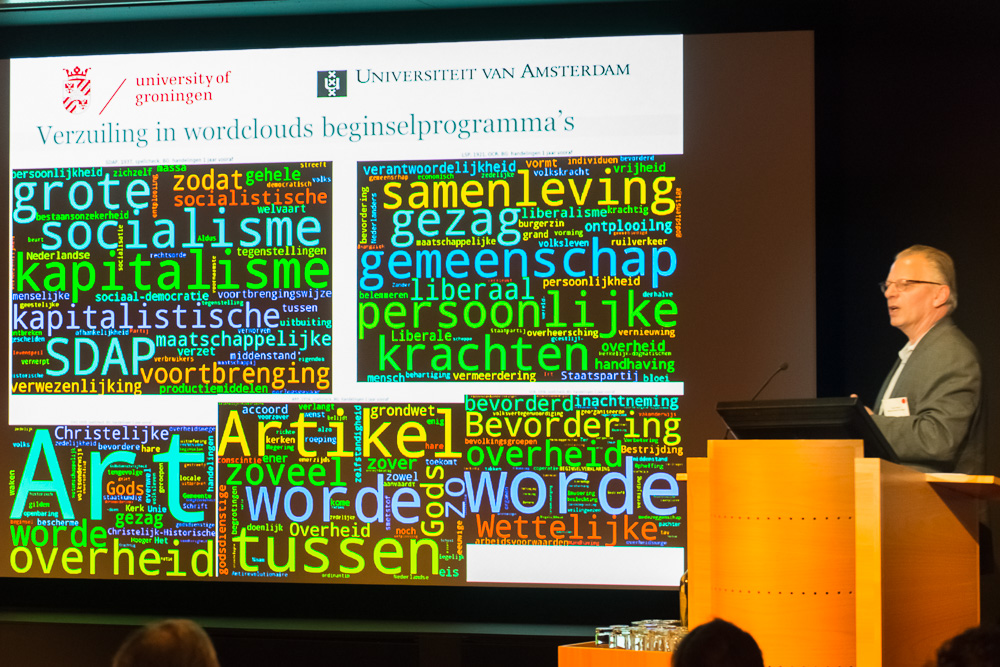 Prof. dr. Huub Wijfjes (RUG/UvA) showing word clouds used in his research.